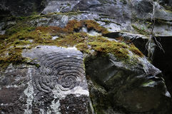 La Zarza   Petroglyphen Stockfoto