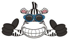 la zebra con i vetri mostra un gesto fresco Fotografie Stock Libere da Diritti