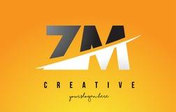 La ZM Z M Letter Modern Logo Design avec le fond jaune et le Swoo illustration stock