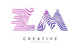 La ZM Z M Zebra Lines Letter Logo Design avec des couleurs magenta Image libre de droits