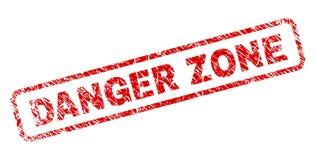 La ZONA PELIGROSA del Grunge redondeó el sello del rectángulo ilustración del vector