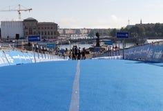 La zone bleue de transition, ville de Stockholm à l'arrière-plan Photo libre de droits