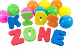 La zone d'enfants de mots avec des boules Photographie stock