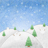 La zone de neige avec le bonhomme de neige réutilisent le métier de papier Images libres de droits