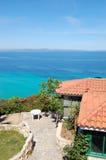 La zone de récréation de vue de mer de l'hôtel de luxe Images stock
