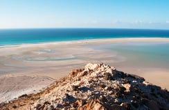 La zone protégée de la plage de Qalansia, de la lagune et des montagnes, île de Socotra, Yémen Images stock