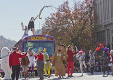 La Zoom Bus Celebrants in the Christmas Parade Stock Photos