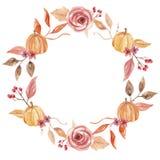La zucca dell'acquerello lascia a festival del raccolto di Autumn Fall Hand Painted Frame la corona arancio del fogliame di nozze Illustrazione di Stock