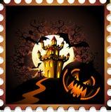 La zucca ed il castello di Halloween timbrano la priorità bassa Fotografia Stock