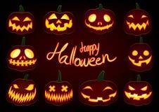 La zucca felice di Halloween, lanterna della presa o di incandescenza ha messo su fondo scuro fotografia stock