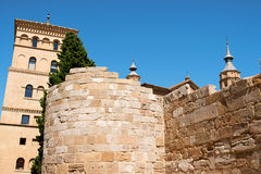 La Zuda Tower and roman walls in Zaragoza Royalty Free Stock Images