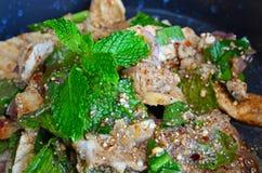 LAAB is Hot&Spicy-Varkensvleessalade met Kruid is Thais Traditioneel voedsel Royalty-vrije Stock Afbeeldingen