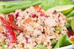 Laab Siamesischer würziger Salat des gehackten Fleisches Stockfotos