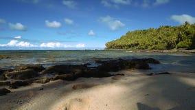 Laag hoek tropisch strand met wit zand, palmen en wat stenenpanorama stock videobeelden