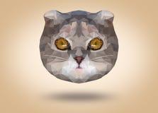 Laag poly abstract portret van een leuke kat op bruine achtergrond Lage veelhoek Royalty-vrije Stock Afbeeldingen