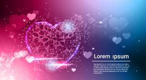 Laag Poly Donkerblauw Gloeiend Abstract de Liefdesymbool van de hartvorm over Bokeh-Achtergrond met Exemplaarruimte Royalty-vrije Stock Afbeelding