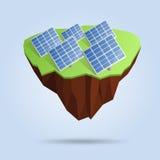 Laag poly drijvend die eiland met zonnepanelen op de achtergrond worden geïsoleerd Veelhoekig 3d ontwerp of infographic element Stock Afbeeldingen