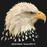 Laag poly kaal adelaarshoofd, poligonalillustratie stock illustratie