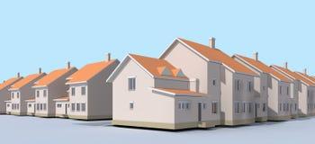Laag-stijgingsgebouwen Straten en huizen, huis in de stad Stock Foto