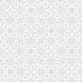 Laag tegenover elkaar stellend uitstekend ornament, het grijze trekken op witte achtergrond Het herhalen van filigraan geometrisc Stock Fotografie