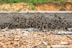 Laag van Cement betonweg Stock Foto's