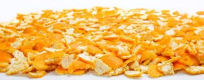 Laag vele mandarin huiden op vlakke oppervlakte Stock Afbeeldingen