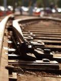 Laag-versla Perspectief van de Sporen van de Spoorweg Stock Afbeelding
