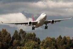 Laag vliegend commercieel lijnvliegtuig over bomen royalty-vrije stock afbeeldingen