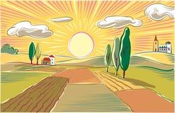 Laagland landbouwlandschap bij ochtend royalty-vrije illustratie