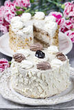 Laagvanille en chocoladecake Stock Afbeelding