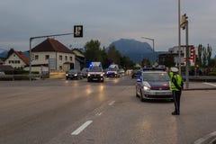 LAAKIRCHEN, AUSTRIA 24 SETTEMBRE 2015: Guardia dei supporti della polizia alla a Fotografie Stock