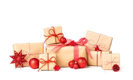 Laarge Stack of Gift box wrapped in recycled paper with ribbon bow and christmas ornament stock image