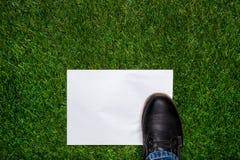 Laars standig op wit blad van document op het gras Royalty-vrije Stock Foto