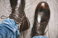 Laarzen en jeans in motie Royalty-vrije Stock Fotografie