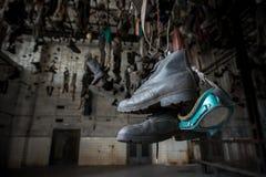 Laarzen in kettingskleedkamer in Landek-park Royalty-vrije Stock Foto's