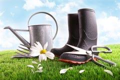 Laarzen met gieter en madeliefje op gras stock afbeeldingen