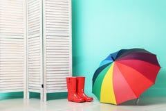 Laarzen met paraplu royalty-vrije stock foto