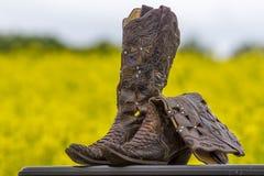 Laarzen op een Gebied van Bloemen Stock Foto