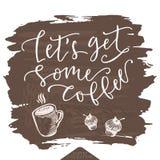 Laat één of andere koffieaffiche krijgen Stock Foto