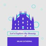 Laat \ 's de schoonheid van Milan Cathedral, Italië onderzoeken Nationale Lan vector illustratie