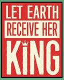 Laat Aarde Haar Koning Retro Christmas Poster ontvangen Royalty-vrije Stock Afbeelding