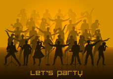 Laat de partijconcept van ` s Reeks silhouetten van musici, zangers en dansers Stock Fotografie