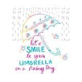 laat een glimlach uw paraplu op een regenachtige dag zijn Royalty-vrije Stock Foto
