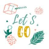 Laat gaan begroetend de stijl van de affichemeetkunde met ananas Typografie voor affiches, t-shirts, kaarten, uitnodigingen, stic stock illustratie