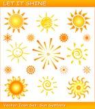 Laat het glanzen/de Vectorreeks van het zonpictogram Stock Foto