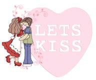 Laat het Paar van het Suikergoed van de Valentijnskaart van de Kus Royalty-vrije Stock Foto's