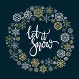 Laat het sneeuwen kaart van de hand de van letters voorziende groet Stock Afbeelding