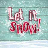 Laat het sneeuwen, rode tekst op houten achtergrond met 3d effect, illustratie stock illustratie