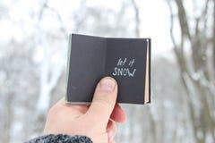 Laat het sneeuwen van letters voorziend Retro boek met inschrijving Royalty-vrije Stock Afbeelding