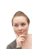 Laat me denken - Vrouw die gelukkige gedachten denkt Royalty-vrije Stock Afbeeldingen